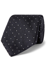 Cravate á pois bleu marine et blanc Hugo Boss