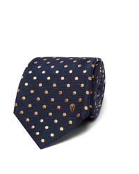 Cravate á pois bleu marine Alexander McQueen