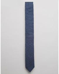 Cravate á pois bleu marine Asos
