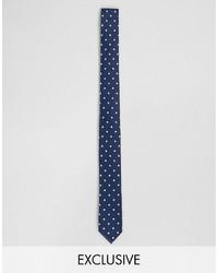 Cravate á pois bleu marine Reclaimed Vintage
