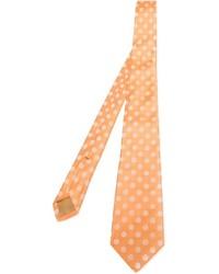 Cravate á pois orange Kiton