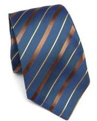 Cravate à rayures horizontales bleu canard