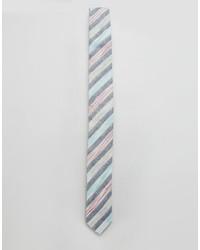 Cravate à rayures horizontales bleu clair Asos