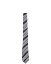 Cravate à rayures horizontales bleu clair Burberry