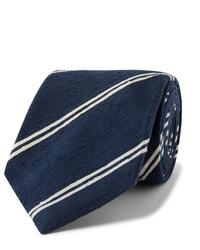 Cravate à rayures horizontales bleu marine et blanc