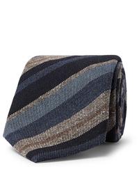 Cravate à rayures horizontales bleu marine Brioni