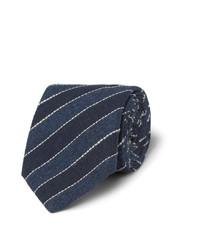 Cravate à rayures horizontales bleu marine Brunello Cucinelli