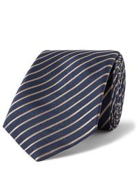 Cravate à rayures horizontales bleu marine Giorgio Armani