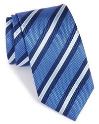 Cravate à rayures horizontales bleue