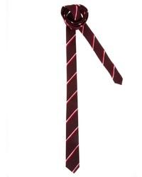 Cravate à rayures horizontales bordeaux Asos