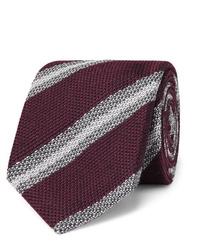 Cravate à rayures horizontales bordeaux Brioni