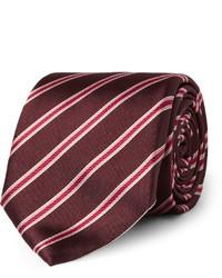 Cravate à rayures horizontales bordeaux Canali
