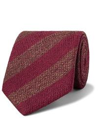 Cravate à rayures horizontales bordeaux Charvet