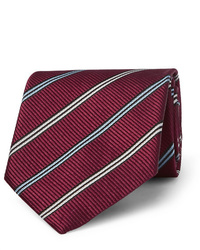 Cravate à rayures horizontales bordeaux Ermenegildo Zegna