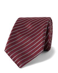 Cravate à rayures horizontales bordeaux Giorgio Armani