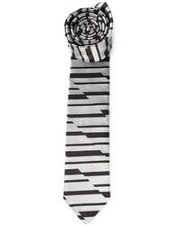 Cravate à rayures horizontales grise Emporio Armani