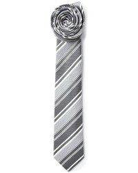 Cravate à rayures horizontales grise Jil Sander