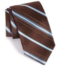 Cravate à rayures horizontales marron foncé