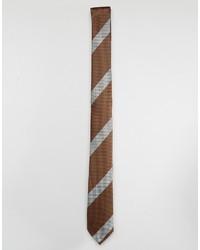 Cravate à rayures horizontales marron Asos