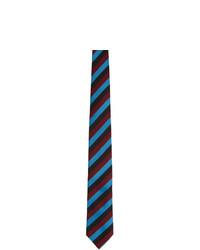 Cravate à rayures horizontales multicolore Prada