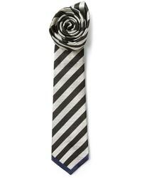Cravate à rayures horizontales noire et blanche