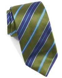 Cravate à rayures horizontales olive