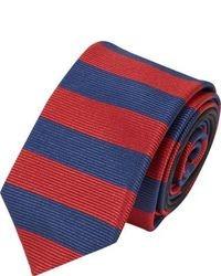 Cravate à rayures horizontales rouge et bleu marine
