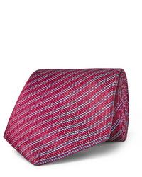 Cravate à rayures horizontales rouge Charvet
