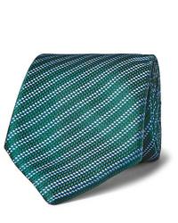 Cravate à rayures horizontales verte Charvet