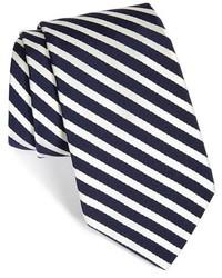 Cravate à rayures verticales blanc et bleu marine