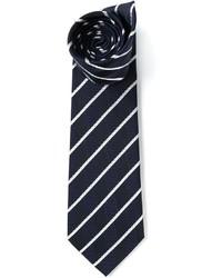 Cravate à rayures verticales blanc et bleu marine Etro