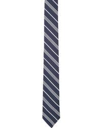 Cravate à rayures verticales blanc et bleu marine Thom Browne