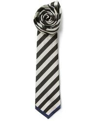 Cravate à rayures verticales blanche et noire Valentino