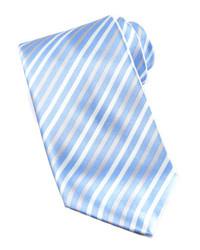 Cravate à rayures verticales bleu clair