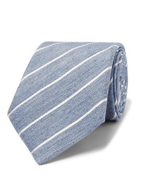 Cravate à rayures verticales bleu clair Canali