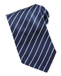 Cravate à rayures verticales bleu marine et blanc