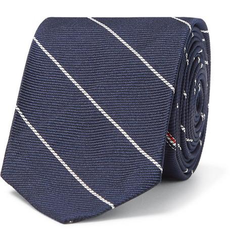 Cravate à rayures verticales bleu marine et blanc Thom Browne