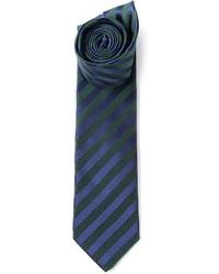 Cravate à rayures verticales bleu marine et vert