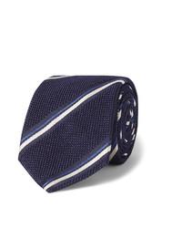 Cravate à rayures verticales bleu marine Canali