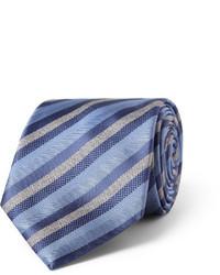 Cravate à rayures verticales bleue Brioni