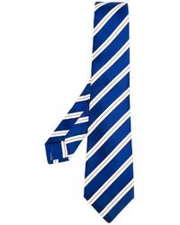 Cravate à rayures verticales bleue Kiton