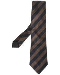 Cravate à rayures verticales brun foncé