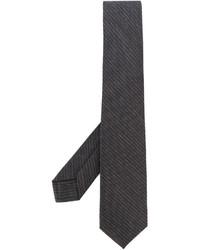 Cravate à rayures verticales gris foncé Barba