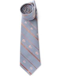 Cravate à rayures verticales grise Alexander McQueen