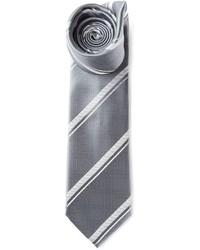 Cravate à rayures verticales grise Brioni