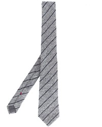 Cravate à rayures verticales grise Brunello Cucinelli