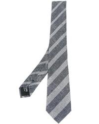Cravate à rayures verticales grise Giorgio Armani