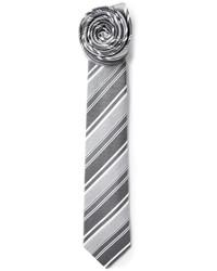 Cravate à rayures verticales grise Jil Sander