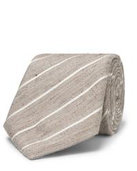 Cravate à rayures verticales marron clair Canali