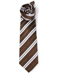 Cravate à rayures verticales marron foncé